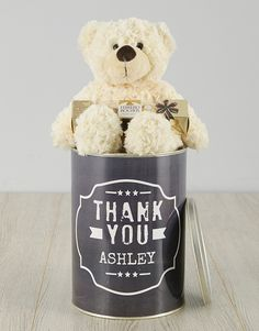 Personalised Black and White Thank You Teddy Tin Pink Happy Birthday, Happy Birthday Candles, Happy Birthday Balloons, Lucky To Have You, Owl Always Love You, 21 Balloons, Elizabeth Arden Red Door, Thank You Labels, Teddy Bear Gifts