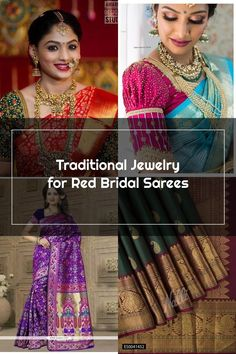 Traditional Jewelry for Red Bridal Sarees Bridal Sarees, Wedding Sarees, Sari, Traditional, Red, Jewelry, Fashion, Saree, Moda