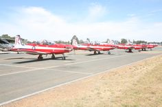 Pilatus PC-9A trainers, of Royal Australian Air Force display team, The Roulettes.