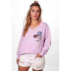 Boohoo Plus Sara Badge Detail Oversized Sweat ($35) ❤ liked on Polyvore featuring tops, hoodies, sweatshirts, pink crop top, bralet crop top, cropped camis, crop tops and cropped sweatshirt