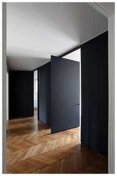 chevron wood floors  matte black walls #interiordesign #homedecor