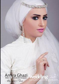 #bride #Egyptian #Muslimah // I don't like the makeup, but I do like the bridal hijab.
