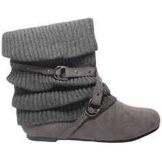 Faux Suede Slouchy Flat Ankle Boots Gray 5.5-10 ($20) ❤ liked on Polyvore featuring shoes, boots, ankle booties, grey booties, gray boots, short flat boots, slouch booties and slouch ankle boots