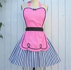 retro apron pink apron 50s DINER WAITRESS ..... ice cream parlor ...