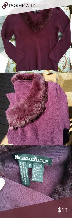 Sexy Fur-Trimmed Sweater Mauve lightweight knit sweater with cute fur-lined, v-neck. Fits on the shorter side, but not tagged as petite. Inside brand tag is loose on one side and 3rd pic shows small snag, but not very noticeable while wearing! Sweaters V-Necks
