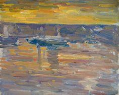 """Golden Sky,"" Charles Salis Kaelin, ca. 1925, oil on board, 8 1/4 x 10 1/4"", Spanierman Gallery."