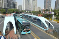 Bus rapid transit in China -- neat. The shelters look like buses!