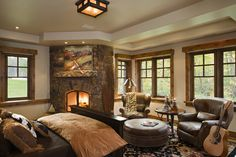 Bedroom - Fireplace/Chairs/Round Ottoman