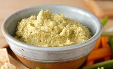Deliciously healthy lemon, coriander and green olive hummus.