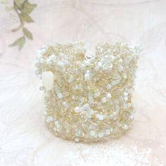 Wire Crochet Cuff Ivory Bridal Bracelet Wedding by ALBINAROSE