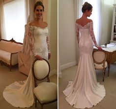 Vestido de noiva clássico corte sereia - renda e cetim - decote ombro a ombro e manga longa ( Vestido: Wanda Borges )