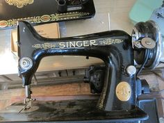 Singer 99-13 1937 3/4 size machine, electric with knee-controller, solid balance wheel