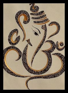 Ganesh ji - Black and Gold Ink So beautiful! Ganesha Drawing, Lord Ganesha Paintings, Mandala Drawing, Mandala Art, Arte Ganesha, Arte Krishna, Ganesh Tattoo, Elephant Tattoos, Elephant Art