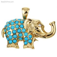 Golden and Turquoise Elephant Pin