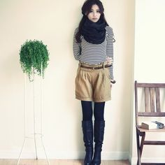 shorts with tights & boots