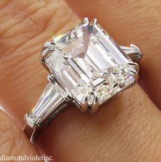 GIA 5.62ct Estate Vintage Emerald Diamond Engagement Wedding Platinum Ring