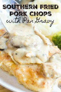 Southern fried pork chops with mushroom gravy is the best comfort food meal for a chilly night. Tender pork, dredged in seasoned flour and smothered with pan gravy. It never fails to satisfy. Southern Fried Pork Chops, Pan Fried Pork Chops, Pork Chops And Gravy, Mushroom Pork Chops, Mushroom Gravy, Pork Roast, Pork Chop Recipes, Pork Meals, Roast Recipes