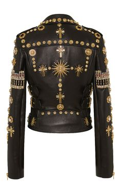 Embroidered Leather Biker Jacket by Fausto Puglisi ( back of jacket cost $14,465 must have deposit of $7232.50 ) its a very cool jacket.
