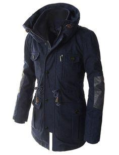 5d6929a2aa4 Showblanc(SBJK902) Man s High Neck Slim Fit Safari Style Zip Up Casual  Jacket at. Men s ...