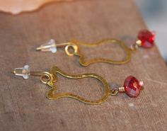 Red Hoop Earrings. Tulip Flower Earrings, Dangle Earrings, Brass Earrings, Rustic Hammered Brass Earrings, Gift Women, Handmade Earrings by BirchBarkDesign on Etsy