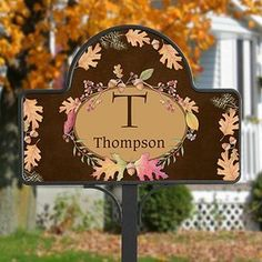 Personalized Autumn Garden Stake - Fall Leaves . $32.95. Say goodbye to summer and celebrate the loveliest season of all with our Autumn Hues Personalized Yard Stake! Our exclusive design captures the season's landscape beautifully with vibrant colors of leaves, acorns, pine and berries. This enchanting piece artfully displays a single monogram initial, along with any name or address you choose, to warmly welcome others to hearth and home!Makes a charming gift for new home, hou...