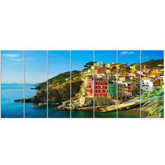 Found it at Wayfair - 'Riomaggiore Village Rocky Beach' 7 Piece Photographic Print on Wrapped Canvas Set