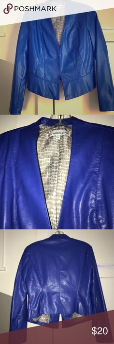 Giuliana Rancic Faux Leather Blazer This is one of my favorites but I've only wore it two times! It it comfortable and can be worn open or closed with two sets of clips near the bottom. Wear with jeans / pants or over a dress! Jackets & Coats Blazers