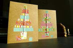 Our christmas cards for 2012, inspired by various washi tape christmas trees previously pinned.