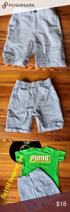 Tommy Hilfiger Cotton Striped Shorts, size 18 mos When your toddler is heading to the yacht club,  these Tommy Hilfiger shorts will be just the thing to wear! 100% cotton and lightweight with real pockets. Sweet with a button down for formal occasions or with a tank top when just chilling. Size 18 months. Tommy Hilfiger Bottoms Shorts