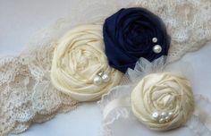 Vintage Garter Set in Navy Blue Blue Bridal by KrumpetsWeddings, $39.50..love this but in royal blue