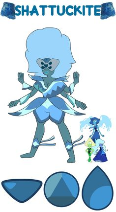 Lapis + Sapphire + Peridot = Shattuckite Personality below! Shattuckite encompasses the troubles that all three of her components have expressing emotion and forming relationships; she's very socially awkward and will likely unfuse if forced to converse. She's much more stable when fighting, where her primary weapon is hydrokinesis. Her other abilities include cryokinesis, future vision, telepathy, and perfect memory. Thanks for the request,  megarosemewtwo!