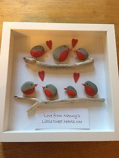 Pebble art picture Robins On A Branches, Quantity Of Birds Can Be Adjusted