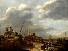 Hendrick de Meijer (ca. 1620 - na 1689). Hendrick de Meijer (ca. 1620 - na 1689) Een druk strandgezicht met visverkopers, schepen en ruiters. De pinken zijn met hun vangst op het strand gesleept. In de paal hangt nog de vlag, die als landingshulp voor de schippers diende.