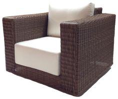 Deep seating for deep relaxation. This extremely stylish outdoor chair is made from woven polyethylene wicker on an aluminum frame, topped with ultra-plush