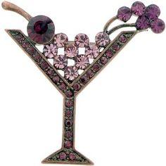 Vintage Martini Glass Amethyst Pins