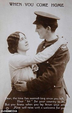 This postcard was sent by a woman in Britain to her loved one fighting in Europe during th...