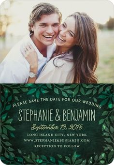 Leaves border the edge of this photo Save the Date card, giving a rustic touch to the natural design. With custom color options and personalized text options, this is a great option for brides planning a rustic wedding or an outdoor reception.
