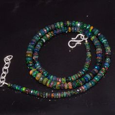 """49CRTS 3.5to6MM 18"""" ETHIOPIAN OPAL RONDELLE FACETED BEADS NECKLACE OBI3903 #Opalbeadsindia"""