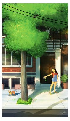 Yaoyao Ma Van As, cane, Yaoyao Ma Van As illustrazioni, Yaoyao Ma Van As illustration, Yaoyao Ma Van As living with a dog Cartoon Kunst, Cartoon Art, Cartoon Pics, Dog Illustration, Digital Illustration, Alone Art, Living With Dogs, Poster S, Girl And Dog