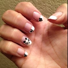 My panda nails. They came out okay, I will do better next time