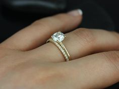 Skinny Alberta & Romani 14kt Yellow Gold Round FB Moissanite and Diamonds Wedding Set (Other metals and stone options available) on Etsy, $1,200.00