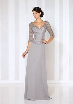 Chiffon A-line gown with hand-beaded and embroidered illusion three-quarter length sleeves, beaded and embroidered illusion front and back V-necklines and sweetheart bodice, sweep train.