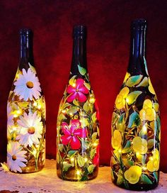 Yellow Buttercups Hand Painted on Wine by LuminationCreation