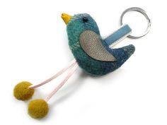 Bird Keyring - Cloudburst Tweed Fair Trade Jewelry, Jewelry Roll, Blue Ribbon, Blue Velvet, Tweed, Indigo, Rolls, Plush, Jewellery