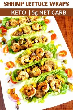 A spiced shrimp mix drizzled with a creamy Cajun sauce is wrapped up in fresh, crispy romaine for this recipe. These shrimp lettuce wraps are a great twist on keto shrimp tacos for a super delicious, easy low carb meal! Baked Chicken Recipes, Beef Recipes, Cooking Recipes, Healthy Recipes, Salad Recipes, Shrimp Lettuce Wraps, Shrimp Tacos, Seafood Casserole Recipes, Seafood Recipes