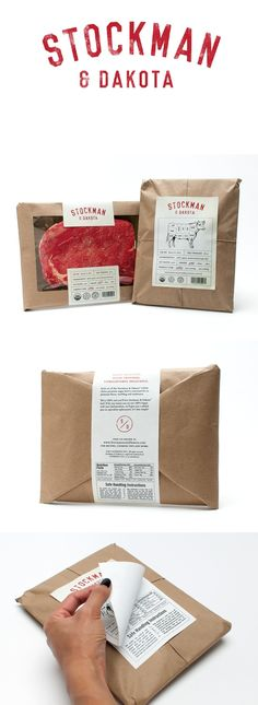 finishing touches: Stockman & Dakota Beef by Gabby Nguyen Cool Packaging, Food Packaging Design, Paper Packaging, Brand Packaging, Packaging Ideas, Coffee Packaging, Bottle Packaging, Food Branding, Restaurant Branding