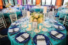 Turquoise and navy tablescape for a preppy Palm Beach wedding at The Breakers I Custom menus by Nico and Lala #PalmBeachWedding