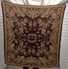 Vintage Extra Large Maroon And Tan Tapestry    eBay