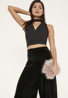 Black Choker Neck Wrap Front Crop Top - Missguided