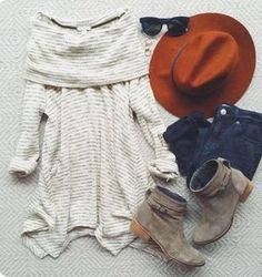 STITCH FIX TRENDS! Try the best clothing subscription box ever! Grey low back  long sleeved sweater. Fall style, fashion and outfit Inspiration photos for stitch fix. Only $20! Sign up now! #StitchFix #Sponsored Bootie, rust fedora hat, cowl neck cream sweater